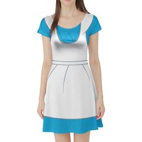 Alice in Wonderland Inspired Short Sleeve Skater Dress