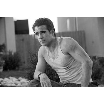 Colin Farrell poster Metal Sign Wall Art 8in x 12in Black and White