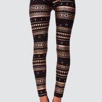 Gold Foil Aztec Print Leggings