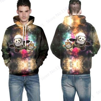 Outer Space Panda Kitty Hooded Sweatshirt Harajuku Space Galaxy Skateboarding Hoodies Active Jumper Pullover Men's Autumn Jacket