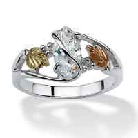 1 TCW Marquise-Cut Cubic Zirconia Vine Ring in 12k Black Hills Gold and Sterling Silver
