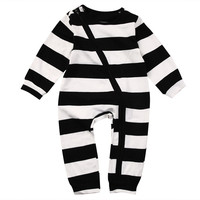 Unisex Baby Kids Boy Girl Long Sleeve Striped Romper Cotton Jumpsuit Playsuit Outfit Clothes