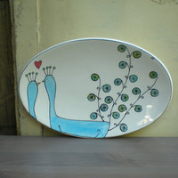 peacock platter by catherinereece on Etsy