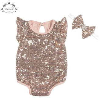 Angela Sleeve Summer Baby Girls Clothes Sequins Chic Infant Romper Crown Bow Headband Set Baby Girls Sunsuit set Kids Clothing
