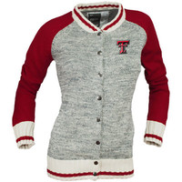 Women's Renu Heather Gray Texas Tech Red Raiders Letterman Sweater