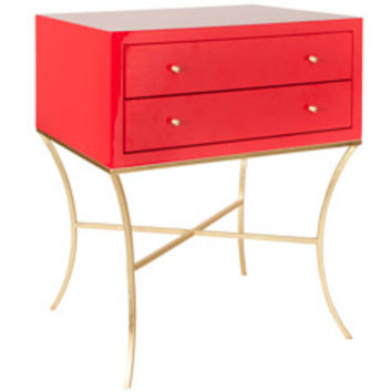 Worlds Away Elena Red and Gold Side Table