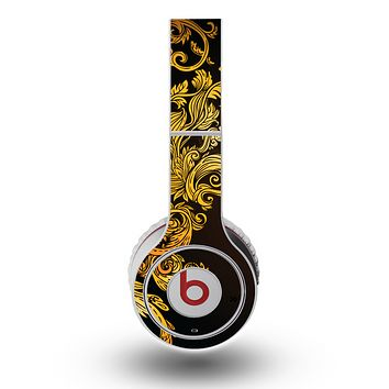 The Gold Floral Vector Pattern on Black Skin for the Original Beats by Dre Wireless Headphones