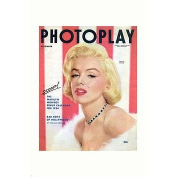 1954 MARILYN MONROE PHOTOPLAY magazine cover poster SULTRY SOFT rare 24X36