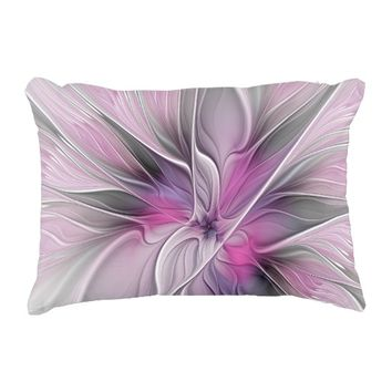 Floral Fractal Modern Abstract Flower Pink Gray Accent Pillow