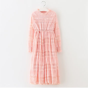 "The ""Mianna"" Girls & Tween Long Sleeve Lace Dress - Pink"