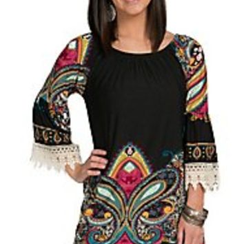 R. Rouge Women's Black with Multicolor Medallion Print & Crochet Trim Dress