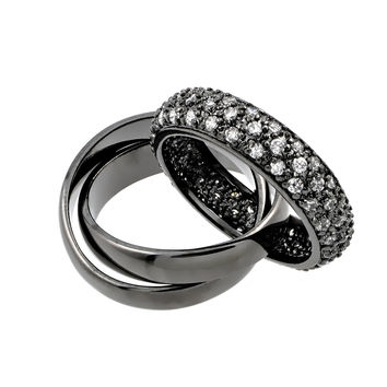 .925 Sterling Silver Jewelry  Sterling Silver Black Rhodium Plated Clear Pave Set Cubic Zirconia Eternity Movable Ring: Size:5