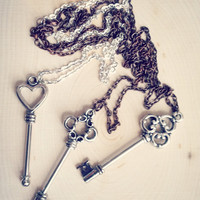 Skeleton Key Necklaces Choice of 3 Different Styles on Copper or Silver 24 inch Necklace Chain and Gift Box Included