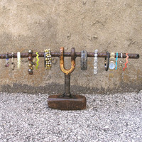 Industrial Jewelry Display, Mens or Womens Watch & Bracelet Stand, Urban Jewelry Holder, Upcycled Industrial Decor