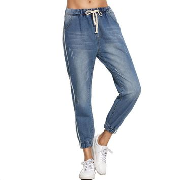 Elastic Cuff Jeans Drawstring Waist Ripped Mid Waist Cropped Pants Blue