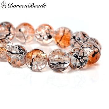 DoreenBeads Crystal Glass Beads Round Orange Mottled About 10mm Dia,Hole about:1.4mm,80cm ,1 Strand(About 84 PCs/Strand)