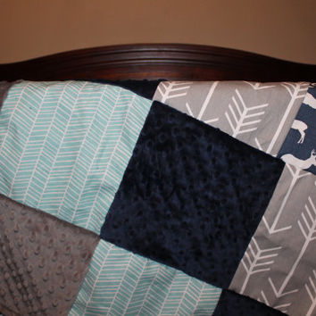Navy Deer, Aqua Herringbone, Gray Arrows, Navy Minky, and Gray Minky Patchwork Blanket