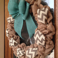 Custom Burlap Wreath, Chevron Burlap Wreath, Teal Burlap, Chevron Ribbon, Year Round Wreath