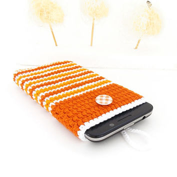 Vegan HTC U11 cover, Orange Samsung S8+ pouch, eco phone case, crochet LG G6 sleeve, Samsung A7 cozy, Sony Xperia L1 purse, iPhone 7+ sock