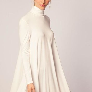 Turtle Neck Swing Dress in Winter White