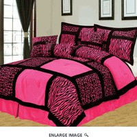 7Pcs Queen Safari Pink and Black Patchwork Micro Suede Comforter Set