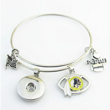 Newest I Love Football Bracelet Washington Redskins Snap Button Adjustable Expandable Bangle Bracelets 10pcs/lot