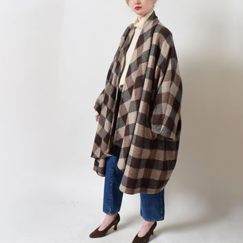 Vintage Check Wool Cocoon Coat