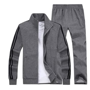 Big Size 5XL 6XL 7XL 8XL Men Sports Suits Fitness Sportswear Keep Warm Gym Clothing Knitted Fabric Running Jogging Sets