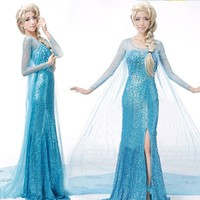 2016 Christmas party cosplay elsa princess dress princess elsa costume adult snow grow princess elsa halloween women costume