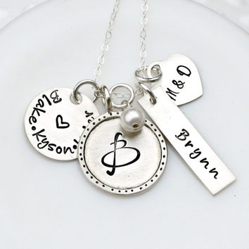 Personalized Jewelry - Hand Stamped Necklace - Multiple Shapes - Jumble Necklace - Three Little Pixies