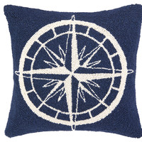 Compass 16x16 Wool Pillow, Navy, Decorative Pillows