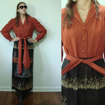 Vintage 1970s Autumn Floor Length MOD Dress Utah Tailoring Burnt Orange Small