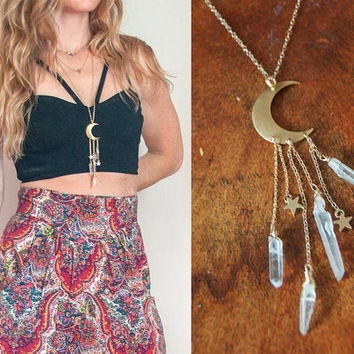 Gypsy Moon and Stars Quartz Point Necklace on Extra Long Gold Filled Chain | Boho Healing Jewelry | Gold Crescent Moon Clear Quartz Crystal