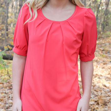 Coral Solid Tunic Dress