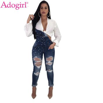 Adogirl Pearls Holes Denim Suspender Trousers Women Casual Bandage Jeans Jumpsuits High Quality Ladies Rompers Vintage Overalls