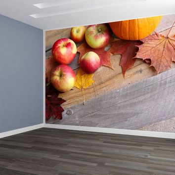 Fall Apples Custom Designed Wallpaper Peel and Stick