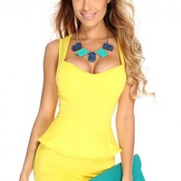 Yellow Sleeveless Peplum Sexy Body Con Dress