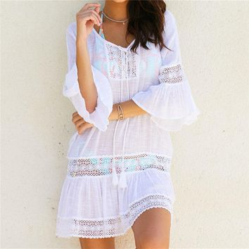Vintage Cotton Beach Dress 2019 Women Summer Lace Dresses Tunic Mini Dress Plus Size Bohemian Dresses Vestidos #n382 designer clothes