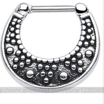 ac PEAPO2Q 2015 Fake Piercing Hot New Nose Ring Set Piercing Kit Lot Of Stud Septum For Clicker Titanium Steel Jewelry 3 Different Styles