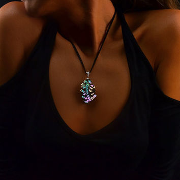 Virginia Creeper, Bismuth Crystal and Sterling Silver Pendant with Leather Necklace, Fractal, Artistic Jewelry