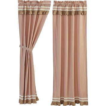 Kendra Stripe Red Panel Curtains