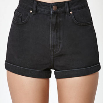 Kendall & Kylie Washed Black Cuffed Denim Mom Shorts at PacSun.com