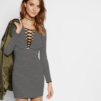 striped deep v-neck lattice front dress