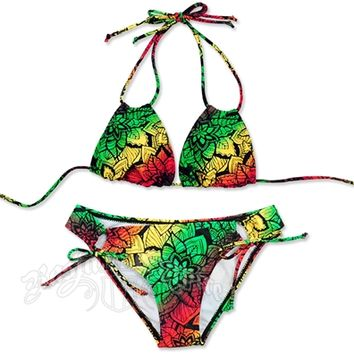 Rasta Flower Burst Loop Triangle Top and Loop Tie Botton Bikini Swimsuit @ RastaEmpire.com