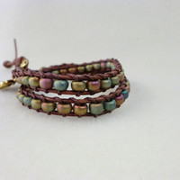 WrapLet Multicolor beaded on distressed leather by StarBurstJewels