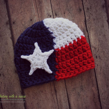 Crocheted Texas Flag Beanie - Newborn Hat