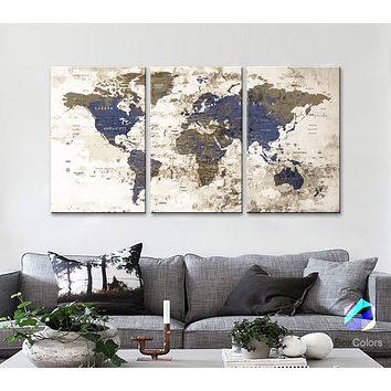 "LARGE 30""x 60"" 3panels 30x20 Ea Art Canvas Print Watercolor Old Map World Push Pin Travel M1811"
