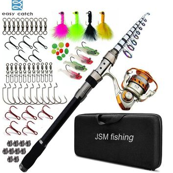 Easy Catch Carbon Fiber Telescopic Spinning Fishing Rod Combo with Metal Reel Fishing Gear for Sea Saltwater Fishing