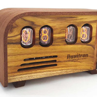 VINTAGE NIXIE CLOCK - Art Deco design with never been used before 30 year old tubes  - handcrafted by Nuvitron
