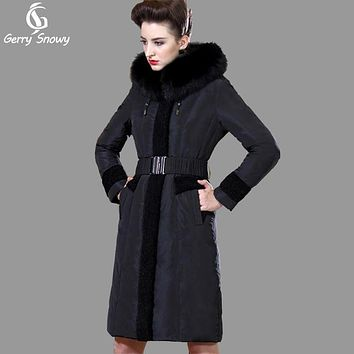 High quality fox fur collar women's winter down jacket plus size thicken long duck down coat women winter coat women brand parka